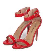 New Women Breckelles Sydney-41 Patent PU Open Toe Ankle Strap Stiletto Sandal
