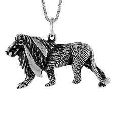"Sterling Silver Lion Pendant / Charm, 18"" Italian Box Chain"