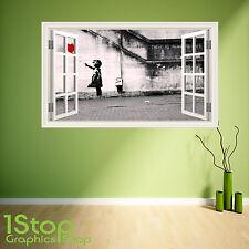 BANKSY GIRL WALL STICKER WINDOW FULL COLOUR - LOUNGE BEDROOM CITY WALL ART W3