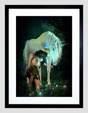 Unicorn Pixie Mujer Estanque luciérnagas Marco Negro Imagen de Impresión Arte Enmarcado B12X9124