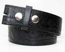 Black Eagle Embossed Leather Belt - Snap Fastenings for Western Cowboy Buckles