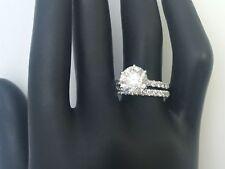 3 CARAT DIAMOND RING BAND SET CERTIFIED ROUND 14K WHITE GOLD LADIES 6 PRONG