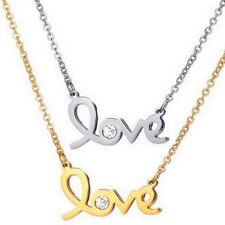 Damen Edelstahl Kette Halskette mit Love Liebe Zirkonia Anhänger - silber / gold