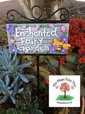 Fairy Garden Plaque Sign Pick Metal Stake Decor Fairies Secret Elves