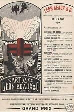 PUBBLICITA' 1908 LEON BEAUX  PRODOTTI  CACCIA CARTUCCE  BOCCIONI FUTURISMO
