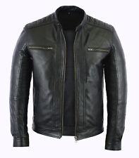 Homme Fashion en cuir véritable peau d'agneau cuir style motard Veste Moto
