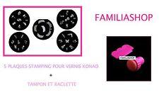 Lot 5 plaques stamping pour vernis à ongles konad + Tampon et Raclette
