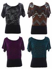 August Silk Women's Printed Short Sleeve Sweater NWT $58