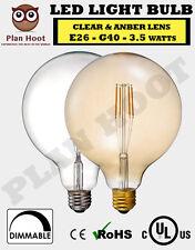 E26 3.5W G40 LED Filament Light Bulb Clear Amber 2700K 2200K AC120 UL Listed