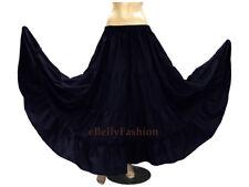Navy Blue Cotton 4 Tiered 6 Yard Skirt Maxi Belly Dance Gypsy Flamenco Tribal