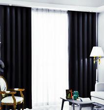 Gardine Verdunkelungsgardine Vorhang mit Kräuselband blickdicht Schal Schwarz