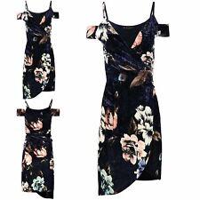 Ladies Floral Velvet Asymmetric Wrap Over Cold Shoulder Women Bodycon Midi Dress