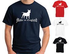 Hecho En Inglaterra De Algodón Camiseta-Bull Terrier Inglés-Tamaños Adultos Y Niños