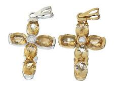 Luxus Kreuz Anhänger Gelbgold od. Weißgold 585 mit Zitrin Goldkreuz 14 Kt Citrin