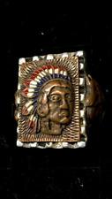 Massive Mexican Biker Ring Native American 1940s 50s 2-Tone Copper & Silver