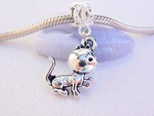 Cute Silver Baby Playing Kitty Cat Pet Slide Dangle Charm fits European Bracelet