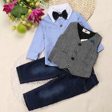 3pcs Kids Baby Boys Formal Party Shirt+Vest+Denim Pants Jeans Clothes Outfit Set