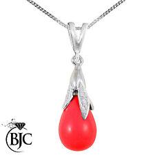 BJC ® 9 CT Oro Blanco en Rojo Coral y Diamante Espinela Gota Colgante/collar