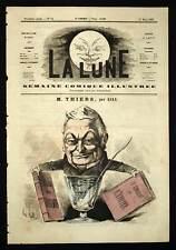 André Gill THIERS ECRIVAIN HISTORIEN caricature  La lune 1866