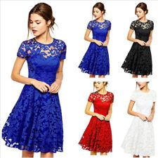 Lace Dress For Women Short Sleeve Plus Size O Neck Fashion Lady Dresses 4 Colors