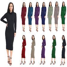 New Women's Ladies Long Sleeve Polo Neck Midi Bodycon Long Dress Size 8-26