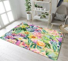 Tropical Succulents Flower Anti-skid Area Rug Room Carpet Bedroom Floor Yoga Mat