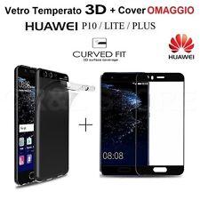 COVER in TPU + PELLICOLA VETRO TEMPERATO 3D COLORATO per Huawei P10 / Lite /Plus