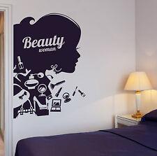 Wall Decal Beauty Salon Hair Stylist Woman Makeup Cosmetics Vinyl Decal (ig2647)