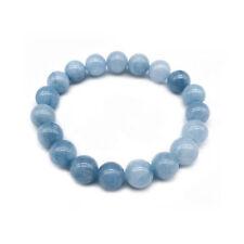 4/6/8/10/12MM Natural Blue Aquamarine Gemstone Beads Stretchy Bangle Bracelet