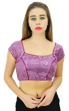 Brocade Dense Sequins Blouse Bollywood Choli Ready-Made Women Ethnic Crop Top