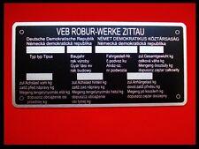 Typenschild // Robur Traktor LKW Schild Hinweisschild Ersatzteile Parts