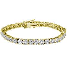 Mens Round Cut Gold Diamond Tennis Bracelet