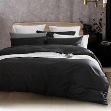 New 650TC 100% Premium Cotton Sateen Duvet Quilt Doona Cover Set Black S D Q K 2