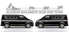 2X 100CM X 18CM ALASKAN MALAMUTE MALAMUTES DOG CAR VAN  DECAL SILVER STICKER