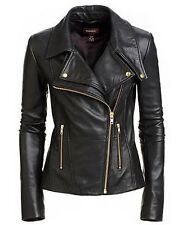 Ladies Black Women's Slim Fit Biker Style Real Leather Jacket