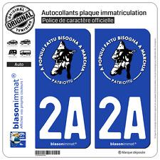 2 Stickers autocollant plaque immatriculation : 2A Ribellu Corse Patriottu