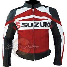NUEVO SUZUKI GSX Moto Motociclista Carreras Protectora Rojo Chaqueta de cuero