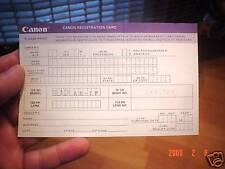 CANON AE-1 AE1P PROGRAM REGISTRATION CARD WARRANTY MINT
