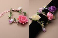 Plaited cord and fabric flower bracelet - JTY205