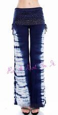 VOCAL CRYSTAL BLUE TIE DYE BLING BOHEMIAN BOHO GYPSY PANTS LEGGINGS S M L XL