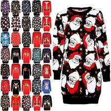 Ladies Womens Snowflakes Christmas Scarfs Snowman Xmas Santa Bodycon Mini Dress