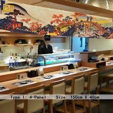 4-panel JAPONAIS NOREN RIDEAU TAPISSERIE GATES chambre Diviseur POISSON Sushi