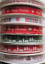 BERTIES BOWS CHRISTMAS GROSGRAIN RIBBON - PUDDINGS / OWLS / SNOWFLAKES / VILLAGE