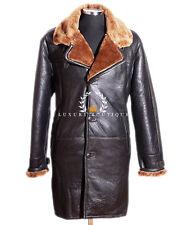 Roy Brown Ginger Hombre Cuero Real de piel de oveja de piel de cordero invierno inteligente Duffle Coat