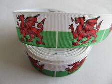 "Grosgrain Welsh Wales Flag Ribbon 1"" 25mm"
