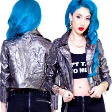 Lip Service Vinyl Faux Leather Womens Zipper Moto Jacket Silver Goth Punk Rave