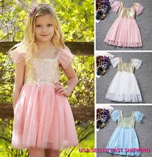 Girl Princess Sequins Dress Toddler Baby Wedding Fancy Party Tutu Dresses K30