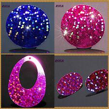 CF0010-13 Pailletten Holo Connector Pink Kobalt Oval Rund*