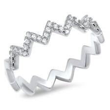 .925 Sterling Silver Eternity Zigzag White CZ Wedding Fashion Ring Size 4-10 NEW