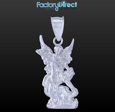 Polished 10k / 14k White Gold St. Michael Pendant  Archangel